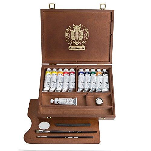 Schmincke Künstlerfarben, Norma Professional Ölfarben, Malkasten, Holzkasten mit 11 x 35ml Tuben und Zubehör