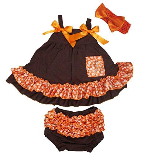 Petitebelle Marron Pois orange Couvercle basculant bloomer Ensemble de pantalon pour bébé Nb-24 m - Marron - M