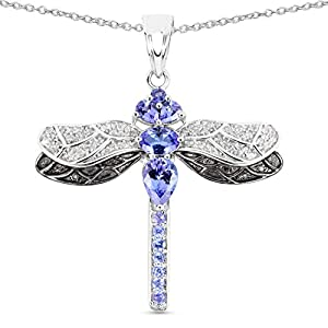 Dragonfly Tanzanite White Topaz Pendant Sterling Silver Necklace