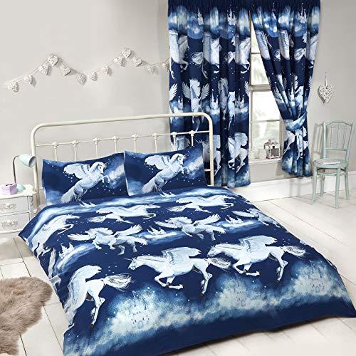 Price Right Home Stardust Licorne Double Housse de Couette et taie d'oreiller-Bleu Marine