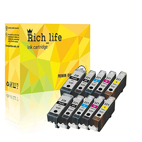 Rich_life Remanufactured Ink Cartridge Replacement For Canon PGI 220 CLI 221 Inkjet Cartridges Compatible Canon Printer PIXMA MP iP 10 Pack (4 Black, 6 Color)