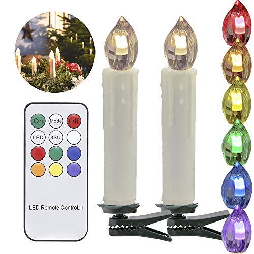 HJ® LED Weihnachtskerzen Lichterkette Baumkerzen Kerzenlichte für Weihnachtsbaum kabellose Dimmbar (20er Warmweiß und RGB)