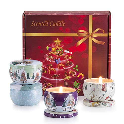 Christmas Scented Candles Gift Set, 4 Cans Made of Soy Wax with Essential Oils for Stress Relief, 4 Fragrances Use for Aromatherapy, Bath, Yoga, Perfect for Christmas, Birthday, Mother's Day