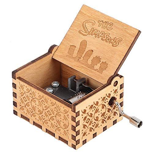 Hztyyier Caja de música mecánica de Madera Caja de música patrón Tallado con Resorte de manivela para Regalos de decoración del hogar para cumpleaños(Los Simpsons)