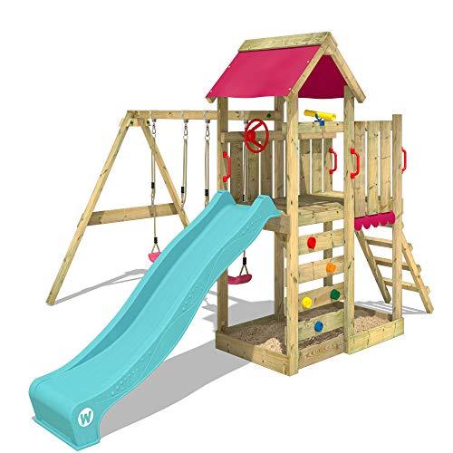WICKEY Spielturm Klettergerüst MultiFlyer mit Schaukel & türkiser Rutsche, Kletterturm mit Sandkasten, Leiter & Spiel-Zubehör - 6