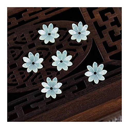 JINAN 50pcs/lot 9mm Resin Flower Beads Hair Clip Hairpinmaking Handmade Accessories Material Loose Beads With Hole (Color : Light green)