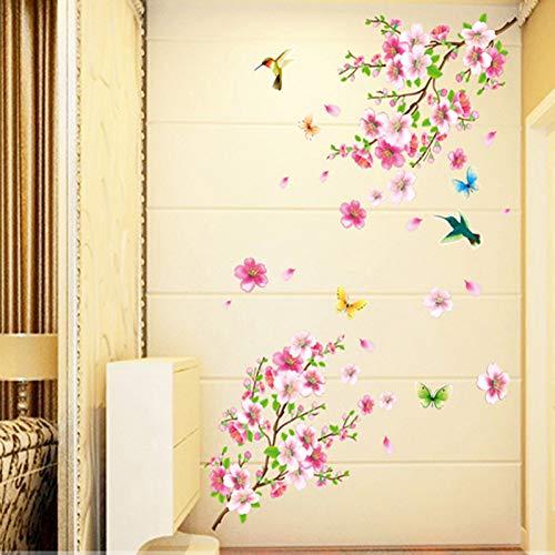 TAOYUE Bloem Muurstickers Sierlijke Perzik Bloesem Vogels Merk Stickers Meubels Romantische Woonkamer Decoraties