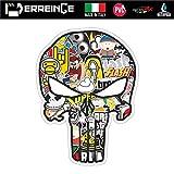 erreinge Sticker Punisher Teschio Adesivo Sagomato in PVC per Decalcomania Parete Murale Auto Moto Casco Camper Laptop - cm 10