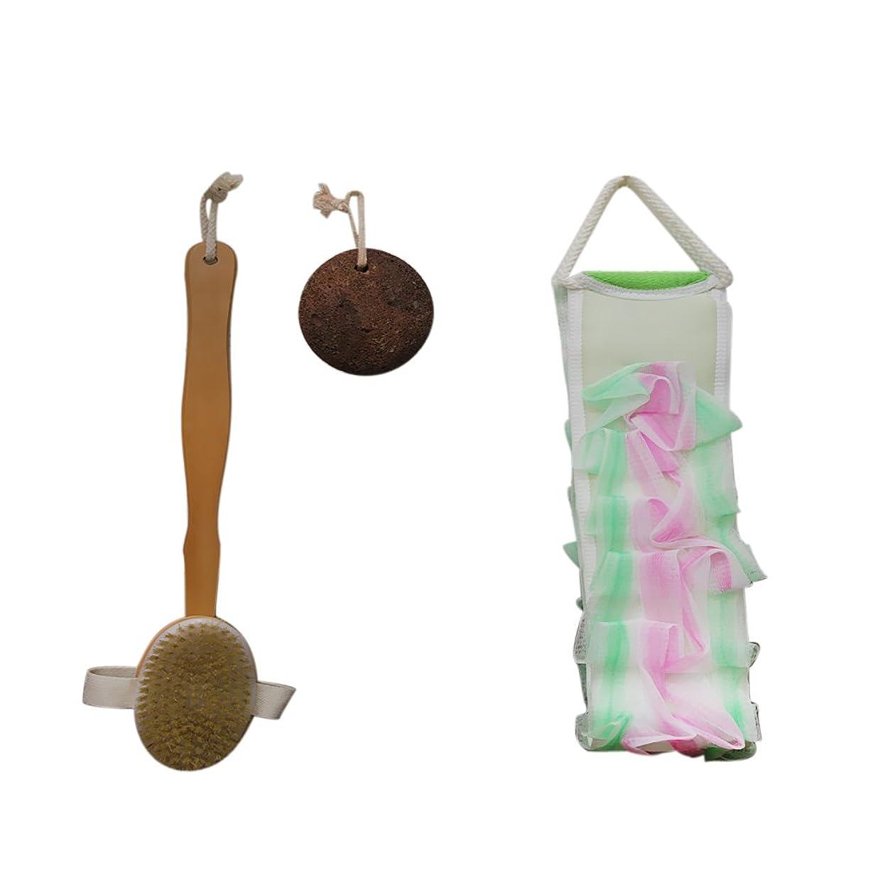 世辞ちっちゃい露骨なボディブラシ+ボディパフ+軽石 3点セット 木製 シャワー 火山石 マッサージ スッキリ