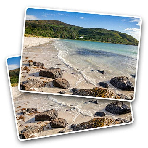 Pegatinas rectangulares impresionantes (juego de 2) 7,5 cm – Calgary Bay Isle of Mull Escocia Fun calcomanías para portátiles, tabletas, equipaje, chatarra de reservas, neveras, regalo fresco #44506