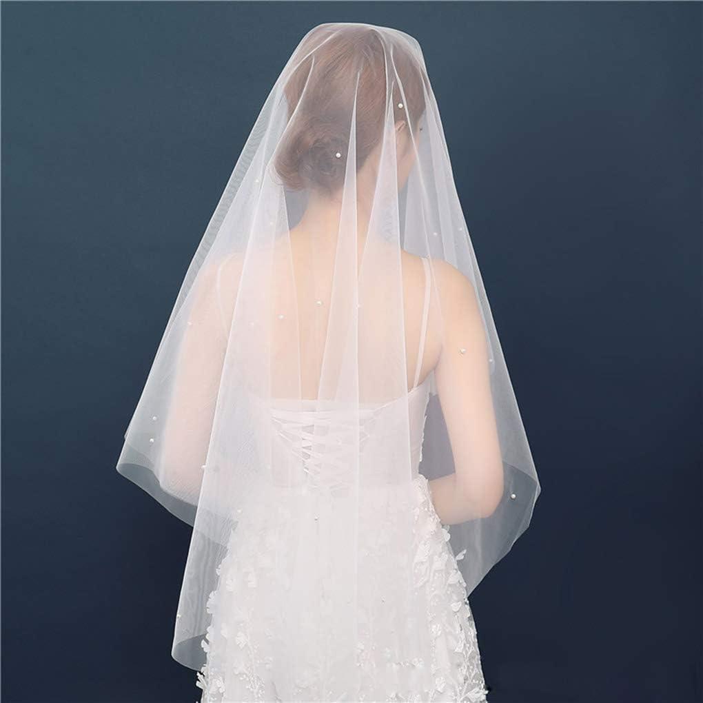 Yalice Women's Pearl Bride Wedding Veil 1 Tier Waist Length Bridal Veils White Soft Tulle Hair Accessories