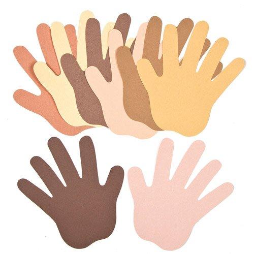 Baker Ross Hände aus Papier in verschiedenen Hautfarben für Kinder zum Bemalen und Verzieren (50 Stück)