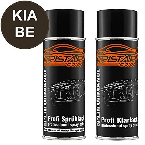 TRISTARcolor Autolack Spraydosen Set für KIA BE Dark Gun Metal Metallic/Winchestergrau Metallic Basislack Klarlack Sprühdose 400ml