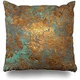 WHEYT Dekokissen Fall 40 x 40 cm Vintage abstrakte Eisen Bronze Muster Nahtlose Fleck Dekoration...