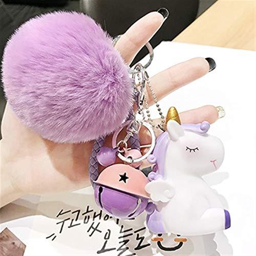 jsobh Keychains Cute Plush Pompom Round Ball Pom Pom Faux Rabbit Fur Key Chain Trinket Car Bag Bell Key Ring Gift Cartoons (Color : Purple)