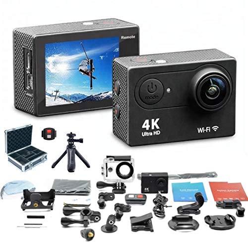 LPX-24 – Caméra d'action étanche ultra HD 24 MP 4K WIFI avec étui de protection rigide, mini trépied, carte mémoire et télécommande – Kit de montage inclus