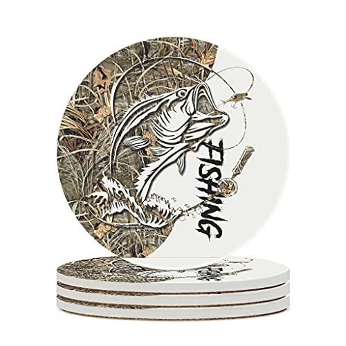 Fineiwillgo Posavasos de cerámica para pescar, tatuajes, resistentes al calor, redondos, de cerámica, con parte trasera de corcho impreso, para bebidas, diámetro de 9,8 cm, color blanco, 4 unidades