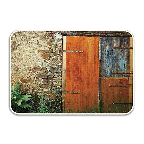 LINFENG Persianas Felpudos Alfombra de Entrada de 23.6x15.7 Pulgadas - Antigua casa de Campo de Moda Entrada Francesa Granja de Muro de Piedra