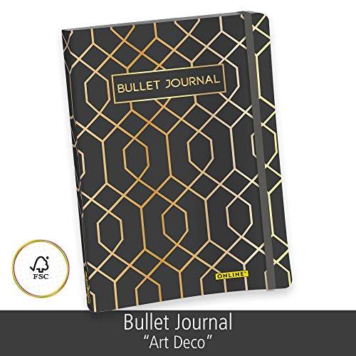 ONLINE Bullet Journal, Art Deco, Dotted-Notizbuch mit Soft Cover, Gummiband, DIN A5, 90g/m² Papier