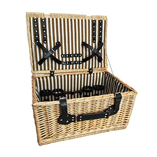 4 Person Picnic Basket Traditional Ratten Picnic Basket Large Wicker Hamper Outdoor Garden Camping Portable Food Storage Box with Lid, Without Tableware