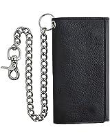 RFID Blocking Mens Tri-fold Long Style Cowhide Leather Steel Chain Wallet,Black