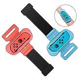 Muñequeras para Just Dance 2021/2020 / 2019 Compatible con Nintendo Switch, 2 Piezas Correa de Muñeca Elástica Ajustable para Joy con Controller, Dos Tamaños para Adultos y Niños (Rojo + Azul)