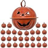 Maydahui 45PCS Pumpkin Shaped Jingle Bells 1.6 inch Jack O Lantern Face Design for Halloween Tree Decor Pet Cat Dog Necklace Collar and DIY Crafts