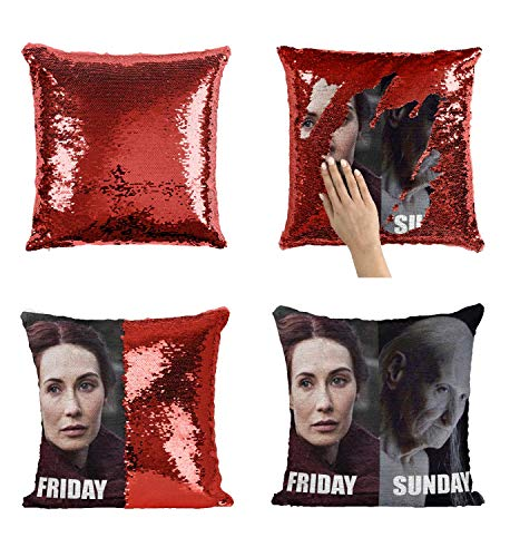 Melisandre Friday Vs Sunday Going Out_MA0616 Pillow Cover Sequin Mermaid Flip Reversible Kissen Meme Emoji Actor Girls Boys Couch Office Sofa (Cover Only)