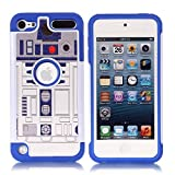 Apple iPod Touch 6th Case, iPod Touch 7 Cover - R2D2 Astromech Droid Robot Pattern Shockproof Hard PC and Inner Silicone Hybrid Dual Layer Armor Defender Case for Apple iPod Touch 5 6th, iPod Touch 7