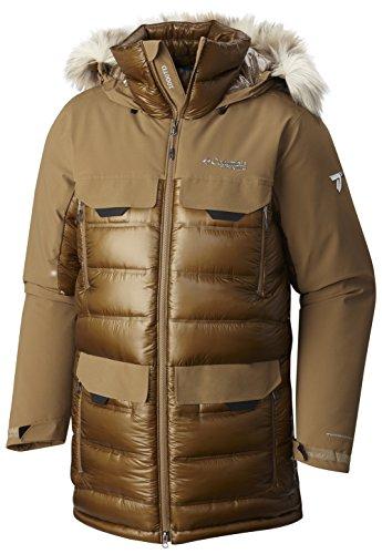Columbia Men's Heatzone 1000 TurboDown Long Hooded Parka Jacket, Delta, XL