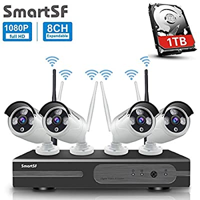 Wireless Security Camera System with 1TB Hard Drive,2.0MP CCTV NVR WiFi Surveillance System,Night Vision,Weatherproof, Motion Detection, Remote Monitoring for Home Indoor Outdoor
