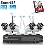 SmartSF 8CH 1080P Wireless Überwachungskamera HD NVR Kit WiFi Surveillance Systems,4x2.0 MP Megapixel Wetterfestes Wireless Outdoor Bullet IP Kameras,P2P,65ft Nachtsicht,mit 1TB Festplatte