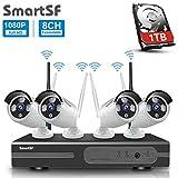 SmartSF Kit Videosorveglianza Wifi NVR 1080P 8CH Wireless Security Camera System HD NVR Kit Wifi Sistemi di sorveglianza,(4) 2.0 MP IP wireless Outdoor Bullet Camera,65ft Visione notturna,1TB HDD