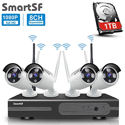 Anni 8CH 720P WLAN Überwachungskamera Set mit HD NVR Kit Wifi Surveillance Systems,4x1.0 MP Megapixel Wetterfestes Wireless Outdoor Bullet IP...