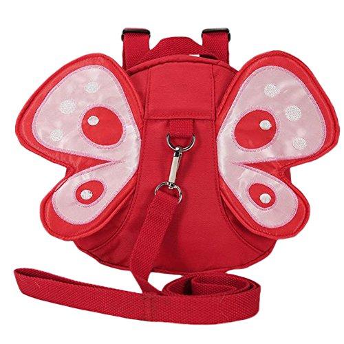 LAAT Baby Kinder Tasche von Gurt der Sicherheit Schmetterling Form Tasche Verlust und Gefahr in Massen Rucksack mit Gurte Tür Baby für Kriech Verfolgen Eltern in der Straße Sichere, Rouge Papillon