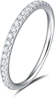 FANCIME 925 Sterling Silver Sparkling CZ Cubic Zirconia Simulated Diamond Cute Thin Stackable Eternity Wedding Engagement Bands Ring For Women Girls 1.8mm
