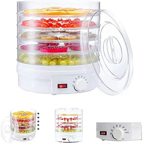 LLDKA Deshidratador automático con Controlador de Temperatura 5 Compartimentos 20 l Extra Gran Capacidad - para Alimentos, Carne, Frutas y Verduras