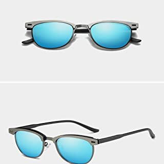 Fashion Polarized UV400 Sun Glasses for Men Aluminium Sunglasses Retro (Color : Blue)