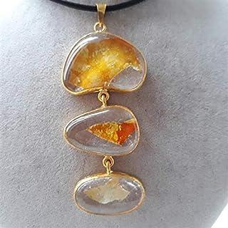 Especialmente diseñado, latón chapado en oro, collar de cristal de color pastel en otoño