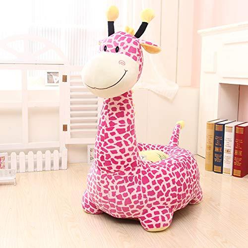 Y&Y Fauteuil en Peluche pour Enfants,Girafe Animaux Girafe Chaise de Sac d'Haricot Rembourré Doux Chaise de Sofa Kid pour Fille garçon âgés de 2 et jusqu'à-Rose 19in