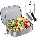 Brotdose Edelstahl,Woutheers Lunchbox aus Premium Edelstahl,Bento Box mit Trennwand & Besteck für Erwachsene & Kinder,BPA-& Plastikfrei Nachhaltig Auslaufsicher Spülmaschinenfest (1400ml)