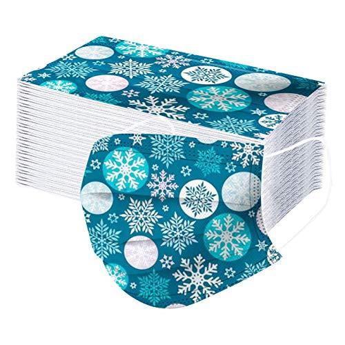 HEnri 50 Stück Weihnachten Erwachsene Einweg Mundschutz Multifunktionstuch,3-lagig...
