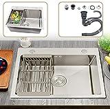 Lavello da cucina con scolapiatti in acciaio inox, rettangolare, 55 x 45 x 22 cm