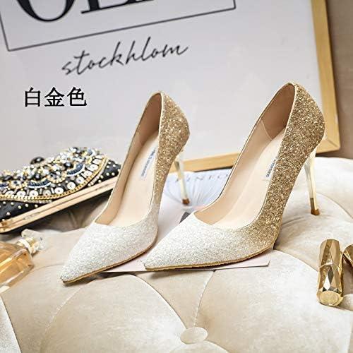 MLGSDW Hochhackige Schuhe Schuhe Schuhe Weißliche Feine Ferse SchrittWeiße Pailletten Scharfe Kristall Braut schuhe36 [9.5Cm] Platin  heißer Sport
