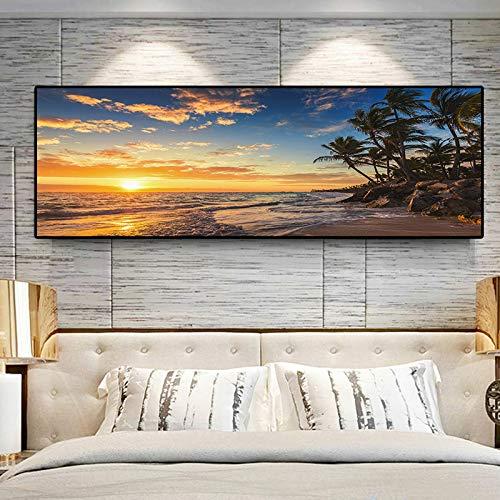 Geiqianjiumai zonsondergang natuurlijke zee strandkospalm panorama landschap canvas schilderij poster en prints woonkamer wandschilderijen