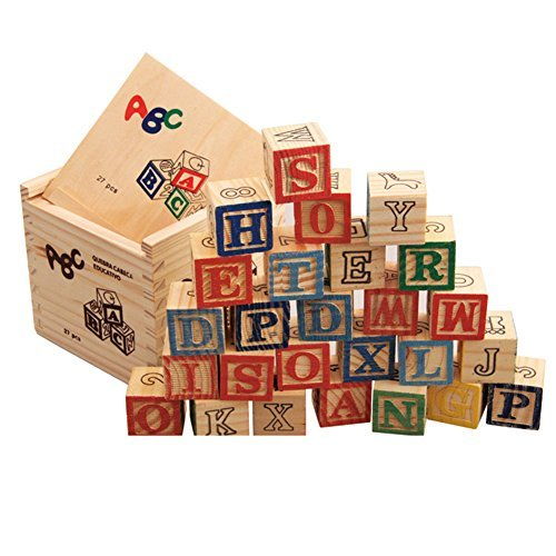KMMall ABC Wooden Blocks Number and Animal Educational Toys 27 Pieces Solid Wood Blocks with Block Box