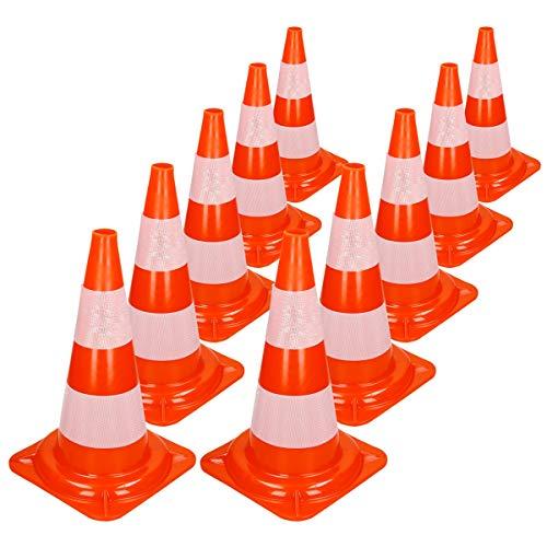 ECD Germany 10 Stücke Verkehrskegel Pylone 50 cm - orange-weiß - Reflektierende Pylonen - Verkehrsleitkegel Warnleitkegel Warnkegel Leitkegel Verkehrshütchen Hütchen Markierungskegel Sicherheit Kegel