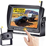 DoHonest S21 HD 1080P Digital Wireless Backup Camera Kit 7 Inch Touch Key DVR Monitor Split Screen Highway Rear View Observation System for Trailers,Trucks,RVs,5th Wheels Super 16 IR Night Vision