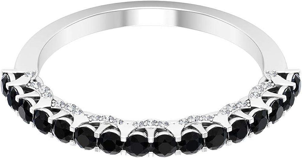 3/4 Ct Black Onyx and Diamond Gold Ring, HI-SI Diamond Engagement Ring, Half Eternity Wedding Band, 14K Gold