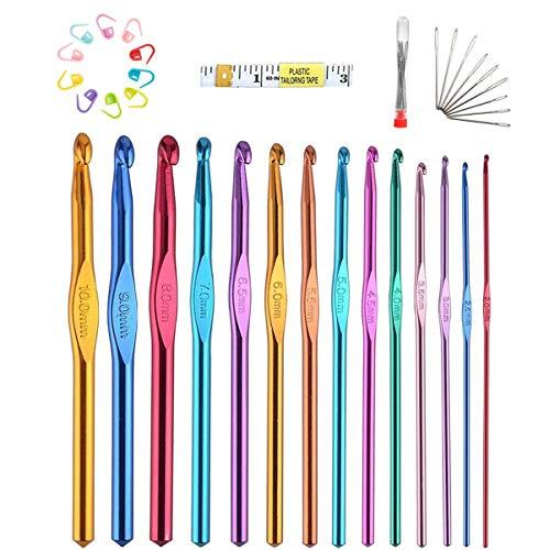Juego de agujas de ganchillo, 14 tamaños de aluminio, juego de agujas de tejer ergonómicas (con caja giratoria), juego de manualidades de ganchillo, el regalo más adecuado para mujeres y niñas